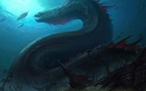 Картинка дракон, корабль, сокровища, морское дно, Legends of Runeterra