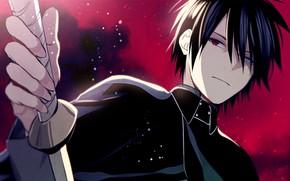 Картинка аниме, Взгляд, арт, Меч, парень, Naruto, Саске Учиха