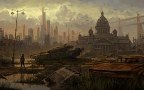 Картинка Concept, Рисунок, Город, Будущее, Человек, Санкт-Петербург, Машины, Разрушения, Арт, Танк, Art, Concept Art, Санкт Петербург, …