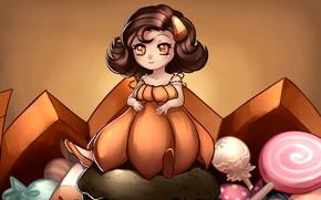 Картинка девочка, сладости, Halloween, тыква, Хэллоуин