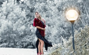 Картинка зима, девушка, снег, поза, ветер, модель, платье, фонарь, мех, Marco Eventi
