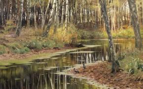 Картинка датский живописец, 1903, Петер Мёрк Мёнстед, Peder Mørk Mønsted, Danish realist painter, Осень в берёзовой …