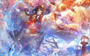 Картинка рыба, девочка, Onmyouji, Омёджи