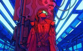 Картинка Цвет, Девушка, Рисунок, Будущее, Дым, Станция, Очки, Метро, Арт, 80s, Techno, Illustration, Retro, Characters, Сигарета, …