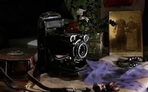 Картинка старина, стиль, ретро, ягоды, темный фон, стол, фотография, букет, фотоаппарат, ткань, натюрморт, предметы, старинный, композиция, …