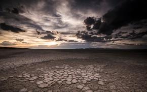 Картинка небо, закат, пустыня