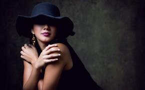 Картинка девушка, шляпа, макияж, брюнетка, Melissa