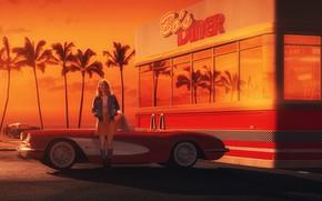 Картинка Девушка, Авто, Chevrolet, Ретро, Машина, Арт, Chevrolet Corvette, 1962, Gran Turismo 6, Debora, Transport & …