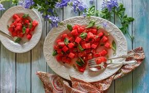 Картинка цветы, арбуз, тарелка, кусочки