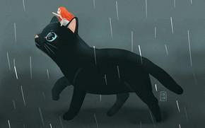 Картинка дождь, фэнтези, девочка, черная кошка