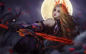 Картинка Девушка, Ночь, Рисунок, Луна, Girl, Moon, Art, Фантастика, Brasenia 1, by Brasenia 1, Lianxi