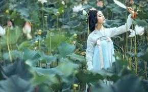 Картинка листья, девушка, природа, лицо, поза, стиль, милая, белое, японка, макияж, Япония, платье, брюнетка, веер, прическа, …