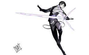 Картинка прыжок, убийца, световой меч, крутой, no more heroes, by Yuusuke Kozaki, Henry Cooldown