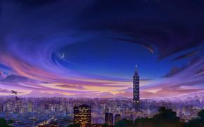 Картинка Вечер, Рисунок, Город, Тайвань, City, Арт, Тайбэй, Небоскреб, Тайбэй 101, Environments, Taipei Background, by Nastia …