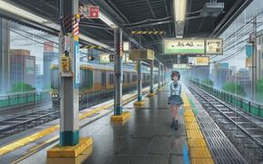 Картинка девушка, дождь, поезд, станция