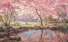 Картинка сад, пара, живопись, двое