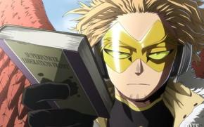 Картинка крылья, очки, книга, парень, My Hero Academia, Boku No Hero Academia, Моя Геройская Академия