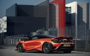 Картинка оранжевый, здание, купе, McLaren, 2020, 765LT