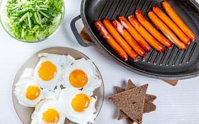 Картинка зелень, сосиски, Яйца, яичница, салат