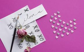 Картинка фон, розовый, Love, Paper, сердечко, Heart, bloom
