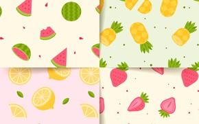 Обои фон, текстура, клубника, фрукты, patterns, Summer, collection