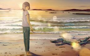 Картинка море, лето, небо, девушка