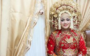 Картинка женщина, портрет, искусство, свадьба, западная суматра, этническая