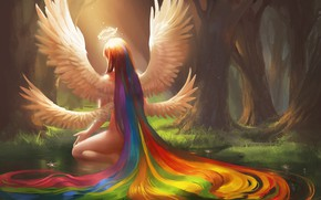 Картинка лес, девушка, крылья, радуга, арт