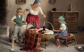 Картинка дети, дом, люди, животное, корзина, женщина, игра, мальчик, семья, девочка, мама, комод, младенец, мать, овца, …