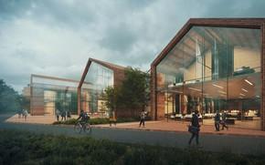 Картинка дорога, люди, строения, Laboratory Building, Two Seasons Lab