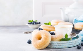 Картинка ягоды, чай, завтрак, пончики, Iryna Melnyk