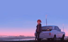 Картинка дорога, авто, девушка, аниме, горизонт, арт, перекусить, остановилась