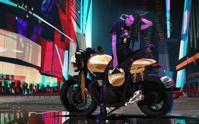 Картинка Девушка, Стиль, Girl, Байк, Мотоцикл, Fantasy, Арт, Art, Style, Фантастика, Neon, Fiction, Concept Art, Motorcycle, …