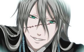 Картинка взгляд, парень, шрам, Тёмный дворецкий, Kuroshitsuji, гробовщик