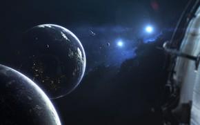 Картинка Звезды, Планета, Космос, Звезда, Планеты, Planets, Star, Арт, Stars, Space, Блик, Art, Космический Корабль, Спутник, …