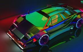 Картинка Countach, Cyberpunk, 2077, QUANTUM WORKS, Art, Cyber, Cyberpunk 2077 Lamborghini Countach, by QUANTUM WORKS, Concept …