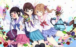 Картинка девочки, фрукты, трио, подруги