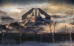 Картинка облака, горы, сооружение, Library Exterior, Halo 2 Anniversary