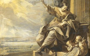 Картинка масло, картина, мифология, 1699, неизвестный художник, Аллегорическая Женская Фигура с Двумя Ангелами