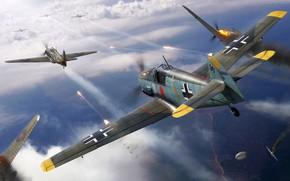 Картинка Hawker Hurricane, Bf-109, RAF, Bf.109E, Боевой самолёт