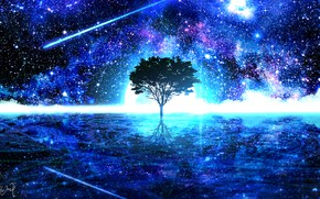 Картинка вода, космос, ночь, природа, фантастика, дерево