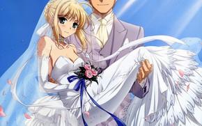 Картинка девушка, букет, невеста, белое платье, свадьба, жених, сейбер, Судьба ночь схватки, Fate / Stay Night