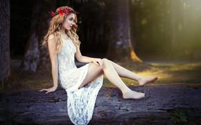 Картинка солнце, деревья, поза, парк, модель, портрет, макияж, фигура, платье, прическа, блондинка, ножки, красотка, сидит, венок, …