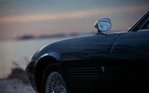 Картинка чёрный, Maserati, зеркало, 1969, родстер, кузов, спайдер, Ghibli Spider