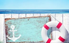 Обои якорь, круг, забор, море