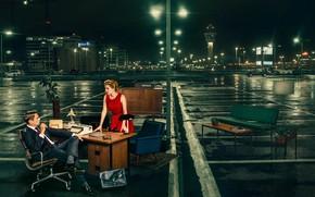 Картинка девушка, ночь, фонари, мужчина, босс, секретарь