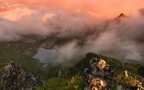 Картинка горы, туман, озеро, Россия, Карачаево-Черкессия, фотограф Максим Евдокимов