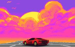 Картинка Авто, Музыка, Ретро, Машина, Стиль, Ferrari, Music, Style, Суперкар, Пиксель, Pixel, Illustration, Testarossa, 80's, Synth, …
