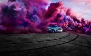 Картинка транспорт, дым, след, автомобиль, LINCOLN AVIATOR
