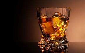 Картинка стакан, отражение, фон, лёд, алкоголь, виски, рюмка